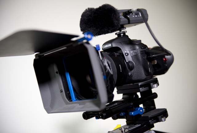 7D with Genus d-slr bars and mattebox, z-finder and Zoom H4n