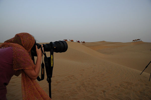 Ami shooting camels with the D300s