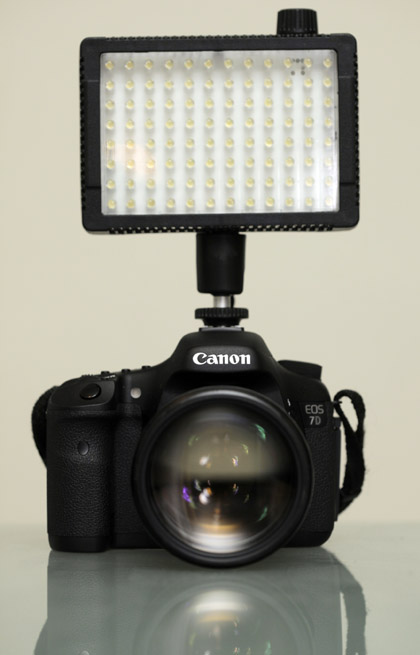 The Litepanels MicroPro mounted atop the Canon 7D