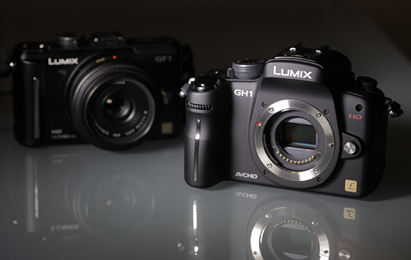 The Panasonic Lumix GF-1 (left) and GH-1