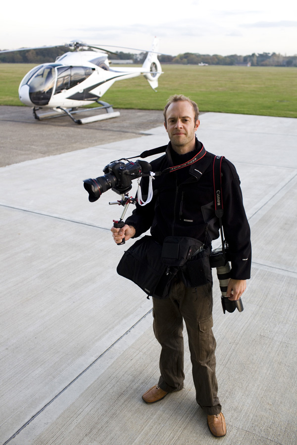 Felix Clay about to fly with a Zacuto Tactical Shooter rig.