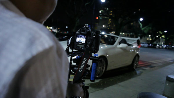 A hybrid Genus/Redrockmicro rig and follow focus in action.