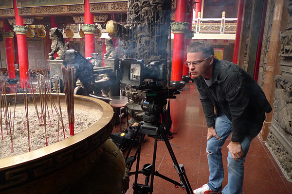 Shooting the Sword Maker and the Swordsman using the 7D rig attached to a Sachtler tripod