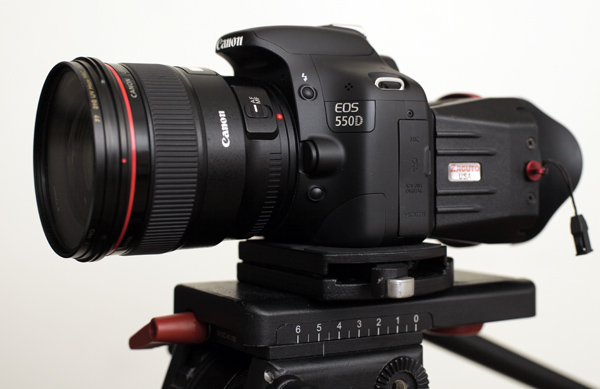 The Canon 550D/T2i with Zacuto Z-finder fitted