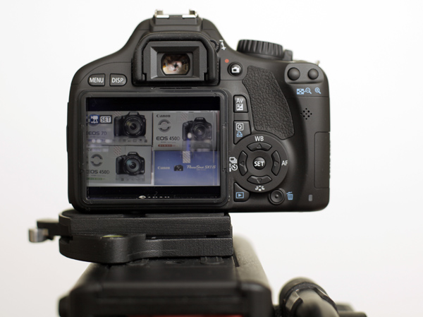 Rear view of the 550D showing the excellent new LCD screen