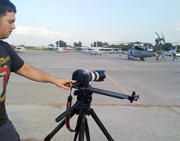 Shooting personal work at the airfield with 5DmkII on Pocket Dolly and Miller tripod