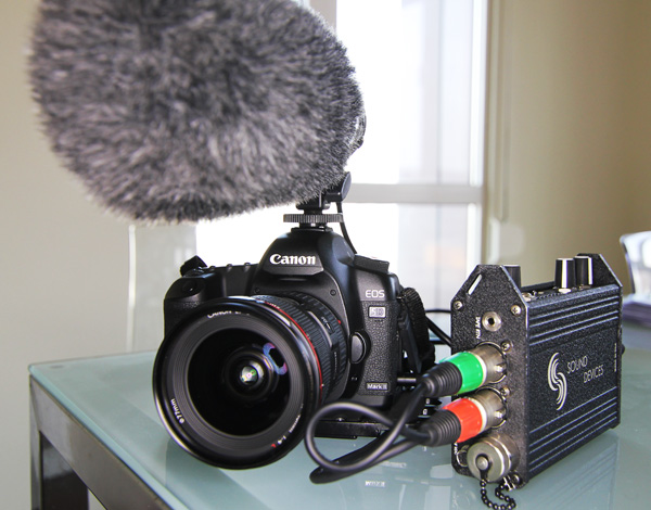 The 5DmkII set up for video with an Sound Devices audio mixer