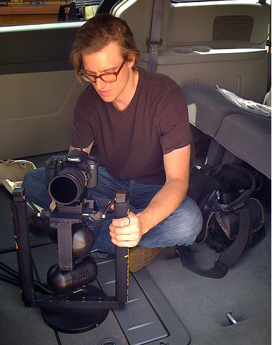 Travis with a Gyro stabilised 7D rig on his latest project