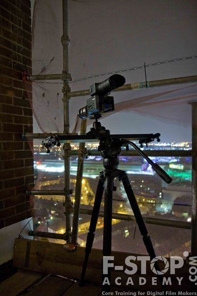 In the scaffolding with the FS-100 on a slider