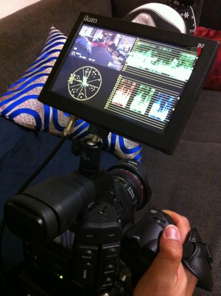 The D7w on top of my Canon C300
