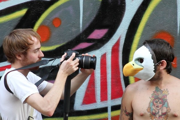 Getting up close to a graffiti artist with my Canon 60D