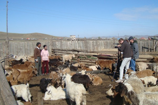Shooting on location with Mongolian herders