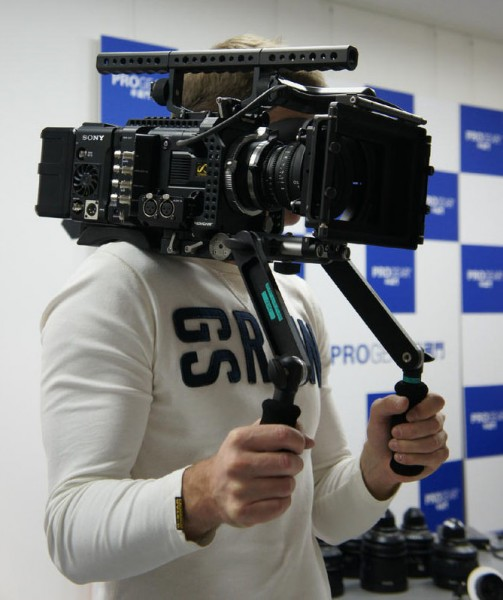 The Sony F55 shoulder mounted with a Movcam rig