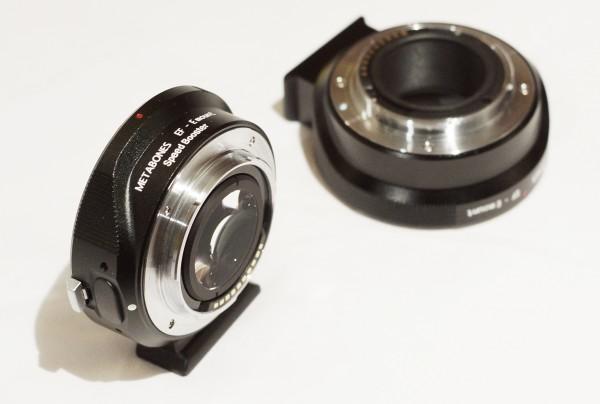The Metabones Speed Booster Adapter (L) next to a regular Metabones EF to NEX adapter