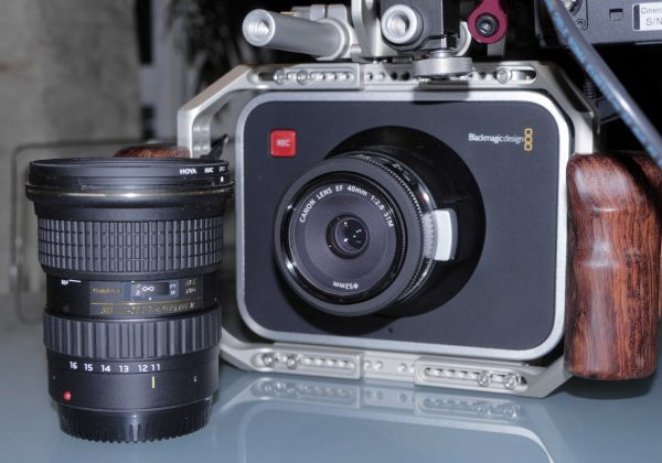 The Blackmagic Cinema Camera with Canon 40mm and Tokina 11-16mm lenses