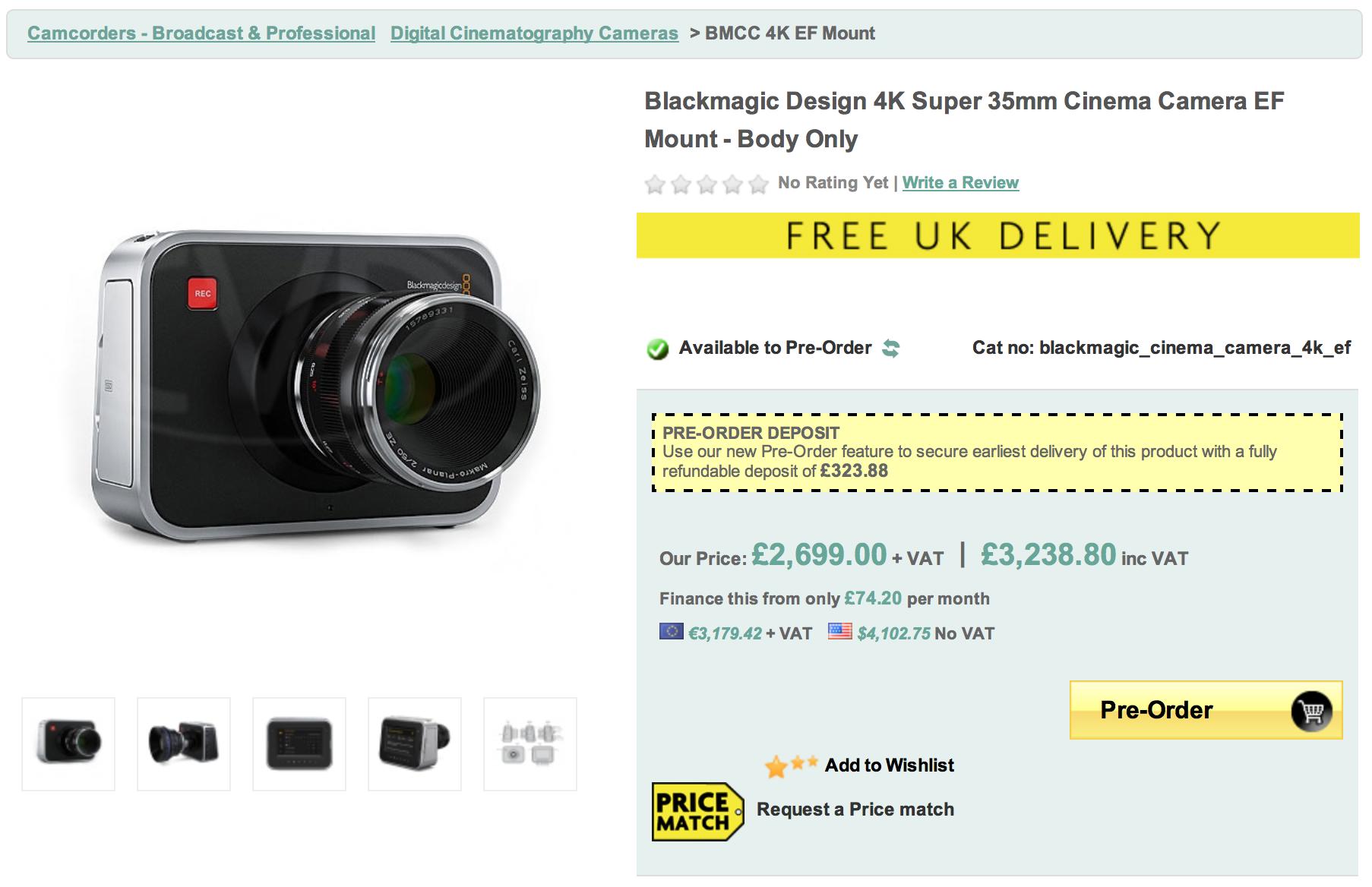 Blackmagic Design 4k Super 35mm Cinema Camera Ready To Pre