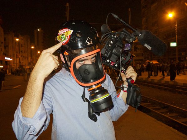 Jerry sporting his riot gear in Cairo Photo: Jake Burghart