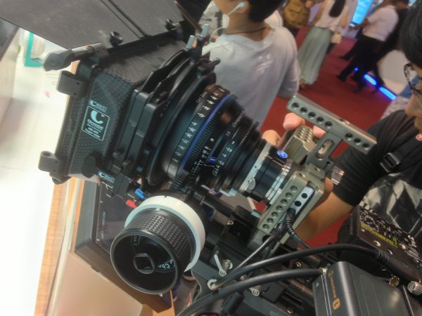 The Pocket Cinema camera all set up on the Blackmagic stand with Zeiss CP2 lens, MTF adapter, Chrosziel mattebox and Movcam cage