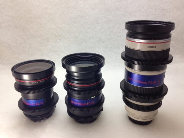 A trio of Technical Farm modified Canon lenses