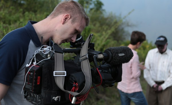 Christian at work in Kenya with his old ENG kit. Picture by Ben Gurney