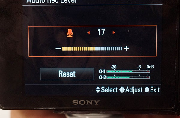 Without the optional XLR pack, audio levels are set through a menu.  You can program buttons so you can get to it reasonably quickly.