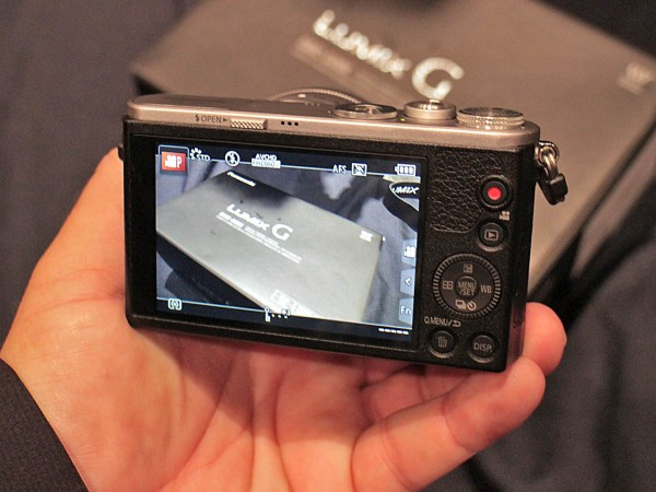 "The 3"" touch screen on the back of the Panasonic Lumix DMC-GM1."