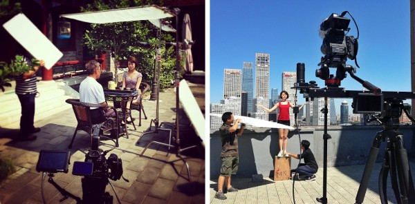 Left, lighting for Mr. Gong and Lili's tea scene. Right, The Canon C100 on Kessler Crane Cineslider.