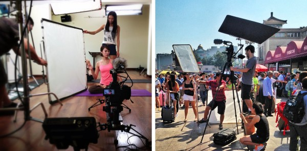 Left: Lighting a yoga studio. Right, DOP Jonah Kessel on an apple box with Miller 2020 Compass15 at full height.