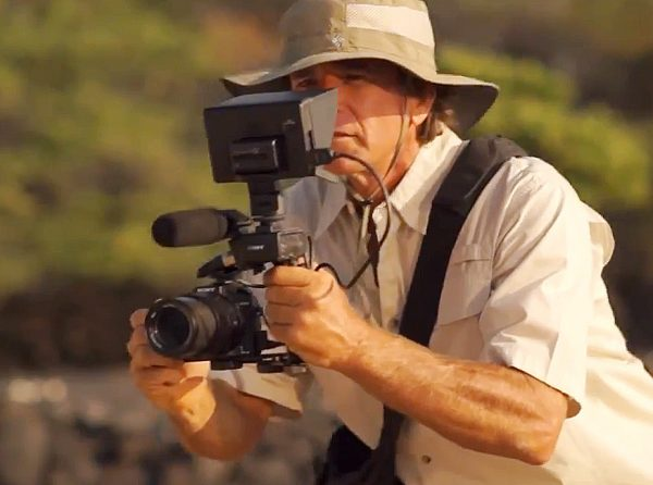 The RX10 in video configuration - proof that all news shooters need a floppy hat.