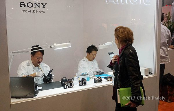 Sony had two repairmen locked in a booth doing work for attendees.