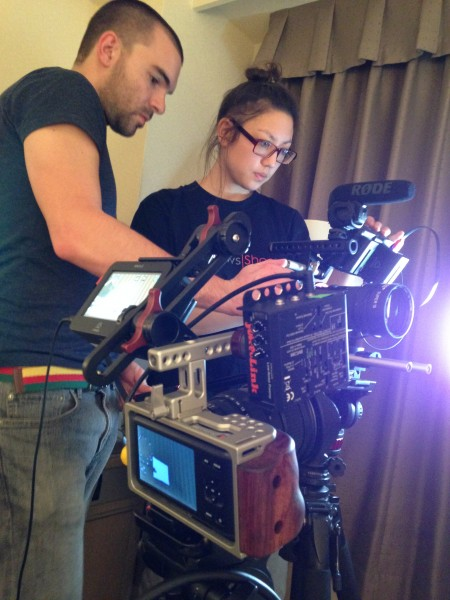 The Newsshooter crew setting up their Movcam caged BMPCCs for Inter BEE