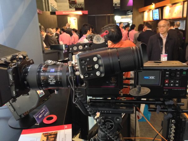 A working 8K camera with Zeiss 70-200 Cinema zoom attached