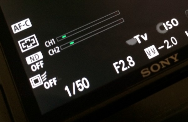Audio level meters on the Sony RX10