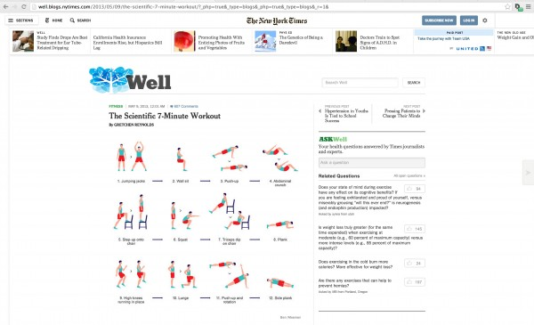 The seven minute workout featured on the New York Times