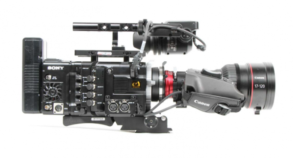 The Canon 17-120mm rigged for run-and-gun on a Sony F55