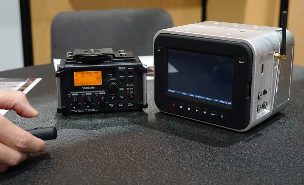 Kinefinity's Kine+ with remote start with simultaneous activation of camera and Tascam recorder / Photo by Chuck Fadely