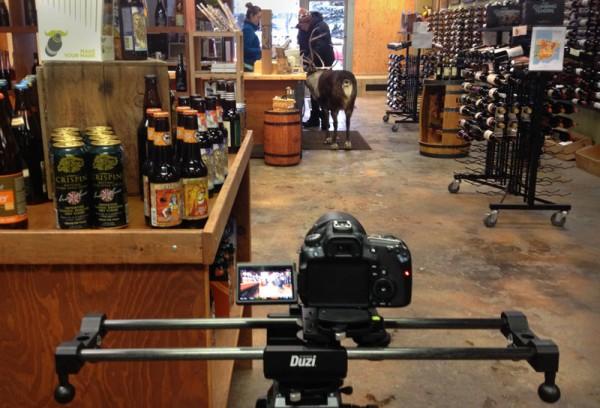 Cinevate Duzi and a reindeer in a wine shop
