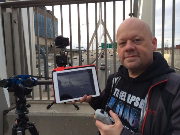 Dan Berube and Ron Risman time-lapse setup at Zakim Bridge
