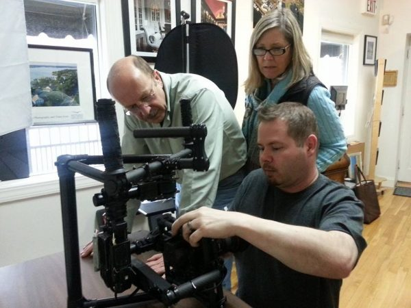 Mike Sutton setting up new Freefly MoVI M5 for Mike Magee and Louise Michaud