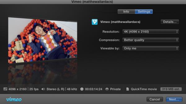 fcp x vimeo export