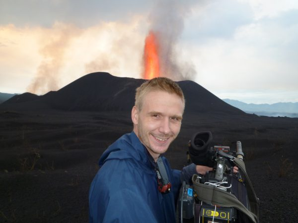 Filming a volcano in Congo