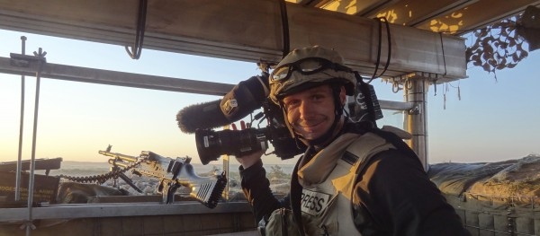 Filming in Helmund province, Afghanistan.