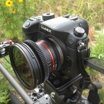 The Rokinon 12mm T2.2 Cine lens on a Panasonic GH4. An inexpensive Polaroid fader ND filter is attached.  ©2014 Chuck Fadely