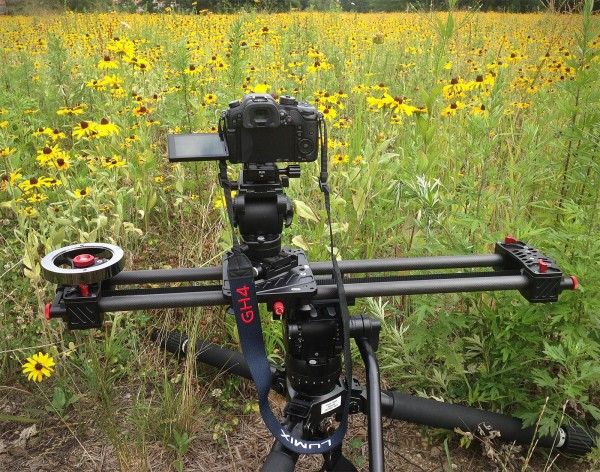 An iFootage Shark Slider S1 mounted on a Miller tripod with the Rokinon 12mm T2.2 Cine lens on a Panasonic GH4.   ©2014 Chuck Fadely