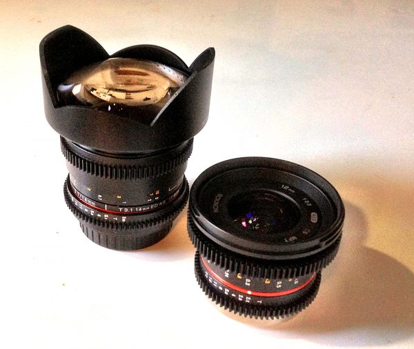 Rokinon cine lenses: 14mm at left; 12mm at right