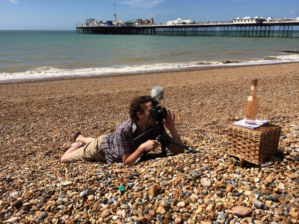 Shooting One Minute Wine on Brighton beach