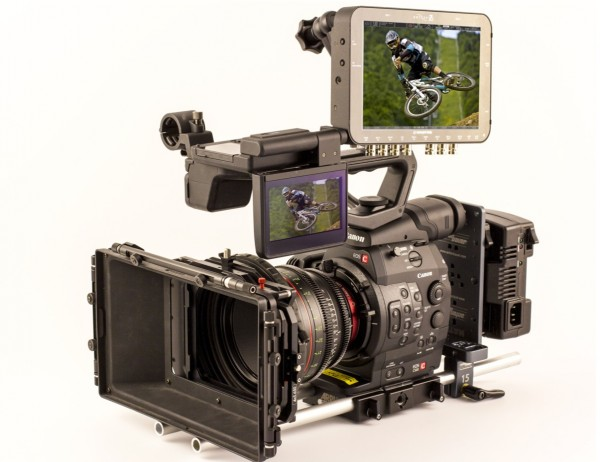 The Convergent Design 7Q recorder on a Canon C500