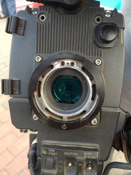 The GoPro sensor is visible inside the old Betacam