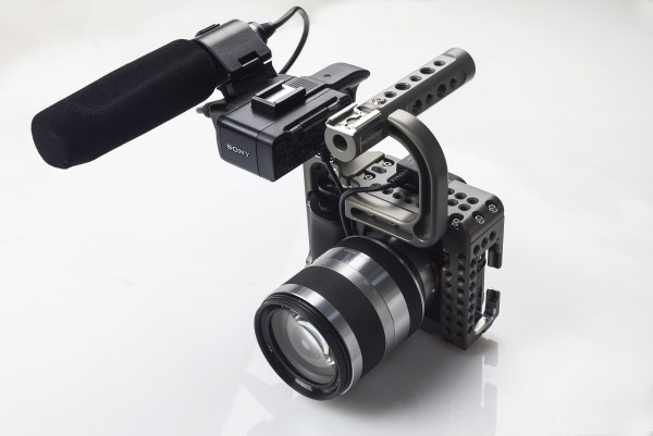 The Movcam a7S cage integrates perfectly with Sony's XLR-K1M audio pack