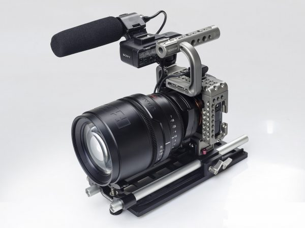 The Movcam a7S cage with Red Pro Prime PL lens attached